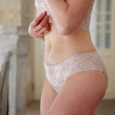 Sayu Menstruační kalhotky nízké s krajkou tělové